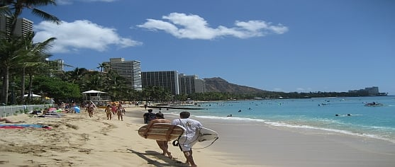Oahu-Waikiki-beach-surfers